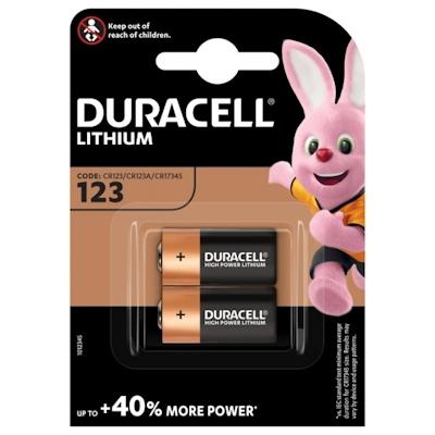 2x Duracell 123 (CR123A) Lithium Batterie