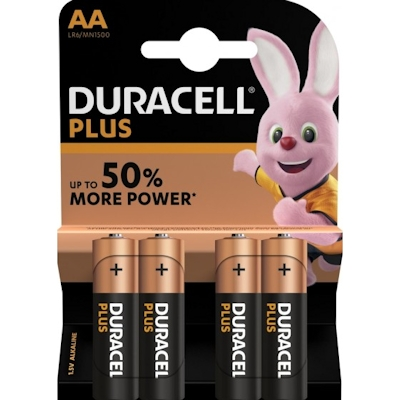4x Duracell Plus AA Alkaline Batterie