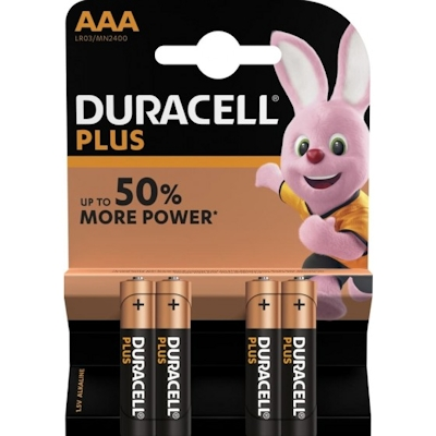 4x Duracell Plus AAA 1.5 Volt