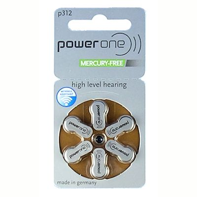 6x Power one 312 (braun) Zink Luft Knopfzelle