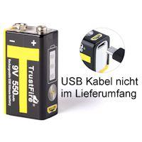 Trustfire 9V-Block Li-Ion Akku 550 mAh micro USB 9 Volt