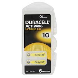 6x Duracell Activair 10 (gelb) Hörgerätebatterien 1.45 Volt