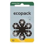 6x ecopack 10 (gelb) Hörgerätebatterien 1.45 Volt
