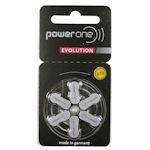 6x Power one EVOLUTION 10 (gelb) Hörgerätebatterien 1.45 Volt