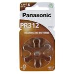 6x Panasonic PR312 (braun) Hörgerätebatterien 1.45 Volt