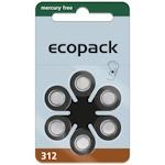 6x ecopack 312 (braun) Hörgerätebatterien 1.45 Volt