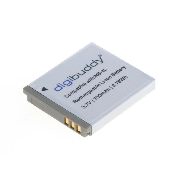 digibuddy Akku kompatibel zu Canon NB-4L Li-Ion 3.7 Volt
