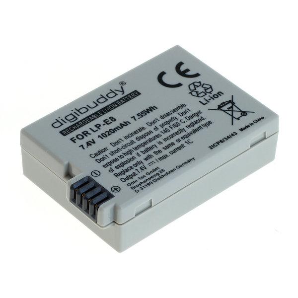 digibuddy Akku kompatibel zu Canon LP-E8 Li-Ion 7.4 Volt
