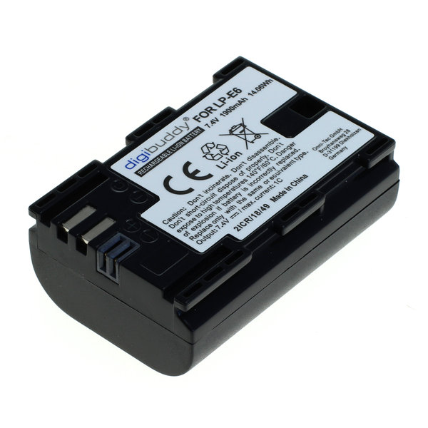 digibuddy Akku kompatibel zu Canon LP-E6 / LP-E6N Li-Ion - 1900mAh 7.4 Volt